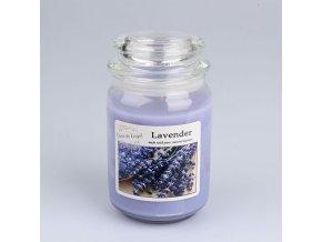 Vonná svíčka ve skle se skleněným víčkem Levandule 460g