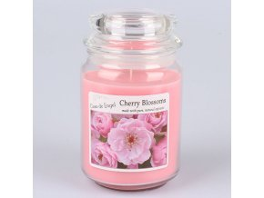 Vonná svíčka ve skle se skleněným víčkem Třešňový květ 460g