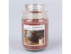 Vonná svíčka ve skle se skleněným víčkem Santalové dřevo 460g