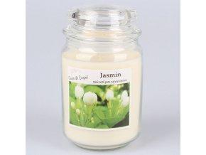 Vonná svíčka ve skle se skleněným víčkem Jasmín 460g