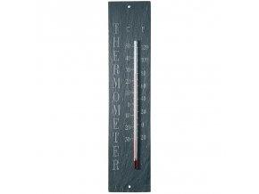 Venkovní teploměr s nápisem břidlice 45x6cm