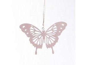 Závěsný motýlek filla růžový kov