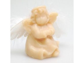 Mýdlo z ovčího mléka v dárkovém balení anděl s křídly medové 6,5x7x4cm