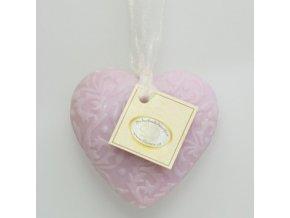 Mýdlo z ovčího mléka srdce se šňůrkou šeřík 7x7,5x2,5cm