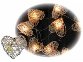 Vánoční LED světelný řetěz | srdce z ratanu | 16 světýlek | 3 m