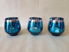 Modrý svícen ze skla 10cm