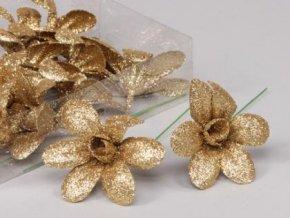 Květ glitr zlatý 8cm set 3ks