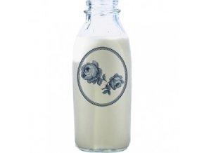 Skleněná láhev na mléko s růží