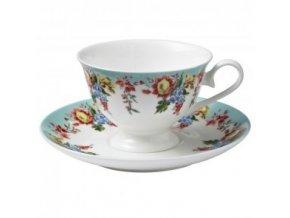Květinový porcelánový šálek s podšálkem