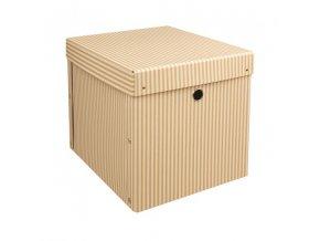 Skládané krabice bílý proužek sada 2ks