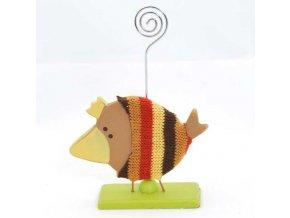 Ptáček dřevěný ve svetru se stojánkem na fotku 10x14x3cm