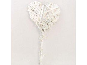 Srdce proutěné bílé zápich 55x15x3cm