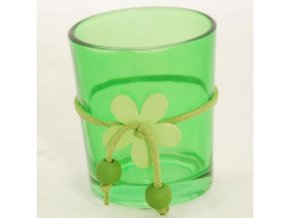 Skleněný svícen | na votivní svíčku | s kytičkou | zelený | 6x7cm