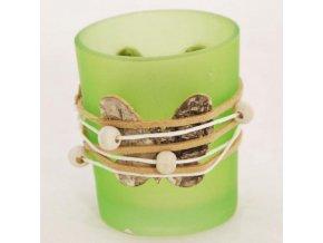 Svícen skleněný na votivní svíčky s motýlem 5,5x5,5x6,5cm