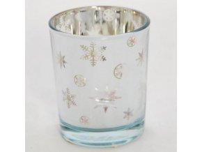 Svícen skleněný na votivní svíčky stříbrný s vločkami 5,5x5,5x6,5cm
