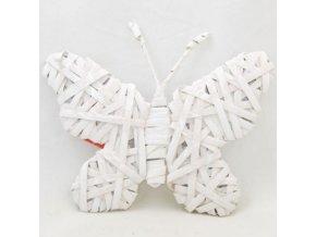 Motýl proutěný bílý na pověšení 25x20x1cm
