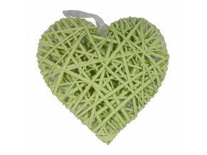 Srdce ratan zelenkavé 28x28cm