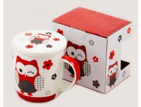 Hrnek poklička červená sova porcelán 400ml