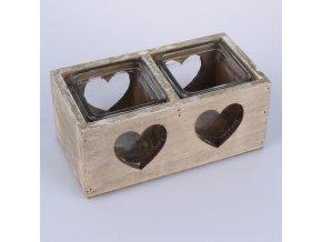 Svícen dřevěný šedý srdce 18cm