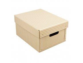 Krabice hranatá přírodní s proužkem 25x33x17cm