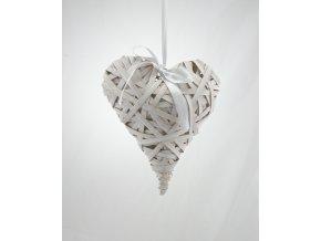 Proutěné srdce bílé 25x20x8cm