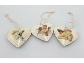 Vánoční ozdoby kovové srdce s motivem anděla