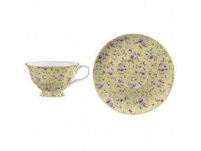 Šálek s podšálkem Yellow Floral porcelán
