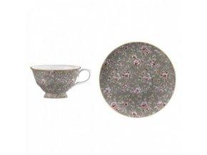 Šálek s podšálkem Grey Floral porcelán