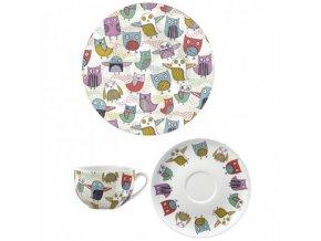 Šálek s podšálkem a talířem Retro Owl porcelán
