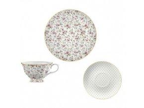 Šálek s podšálkem a talířem White Floral porcelán