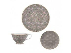 Šálek s podšálkem a talířem Grey Floral porcelán