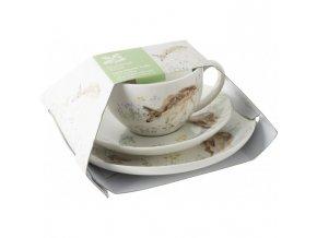 Šálek s podšálkem a talířem Forest Toile porcelán