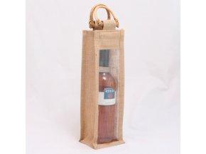 Taška na 1 láhev   jutová   10×10×33cm