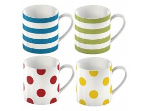 Hrnek Stripes and Spots porcelán set 4ks