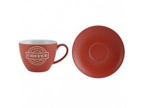 Šálek s podšálkem červený keramika 280ml
