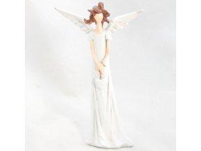 Figurka anděla v bílých šatech se srdíčkem 17,5x10,5cm