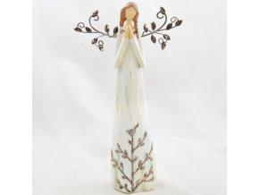 Figurka anděla v krémových šatech s kovovými křídly 28,5x16cm