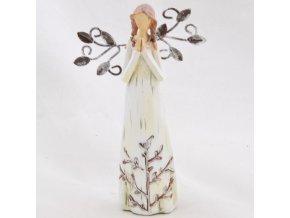 Figurka anděla v krémových šatech s kovovými křídly 14x8,5cm