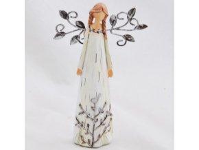 Figurka anděla v krémových šatech s kovovými křídly 14x8,5cm I
