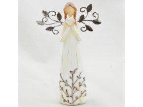 Figurka anděla v krémových šatech se srdíčkem a kovovými křídly 14x8,5cm