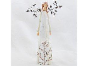 Figurka anděla v krémových šatech s kovovými křídly 28,5x16cm I