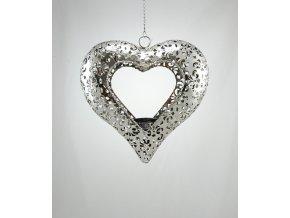 Závěsný svícen srdce kov 22x6cm