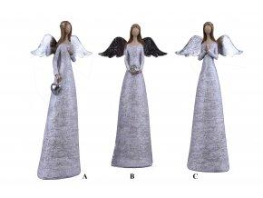 Anděl stříbrný 16x32x6cm