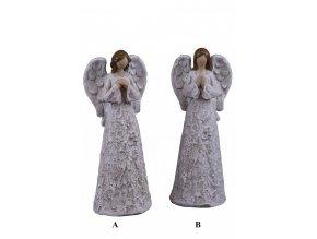 Anděl stříbro-bílý 10x26x7cm