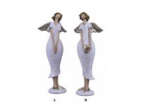 Anděl v bílých šatech 8x22x4,5cm