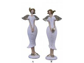 Anděl v bílých šatech 6,5x17x4cm