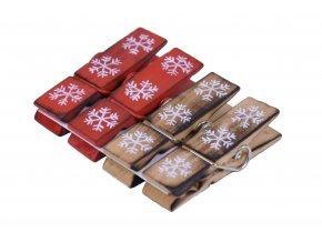 Dřevěné kolíčky vločky 4ks 2x7x1cm