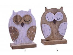 Dřevěná dekorační sova 8x11x4cm
