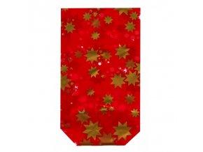 Sáček vánoční Hvězdy červený set 10ks