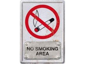 Plechová pohlednice No Smoking Area